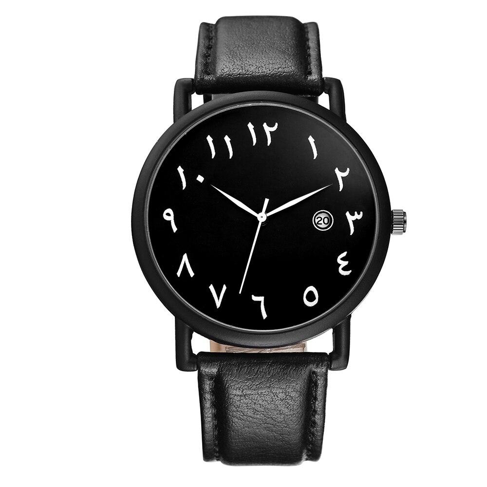 BAOSAILI Arabe Numéros Échelles Hommes Montre Grande plaque Blanc Noir PU en cuir montre avec Calendrier BSL1034