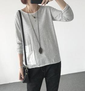 Image 3 - YoYiKamomo Camisa de algodón a rayas para mujer, blusa holgada de manga larga de algodón y bambú para primavera y verano, Color liso, 2018