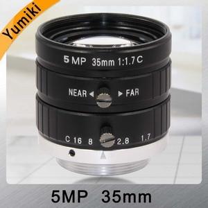 Yumiki HD 5MP объектив камеры видеонаблюдения 35 мм F1.7 диафрагма 2/3