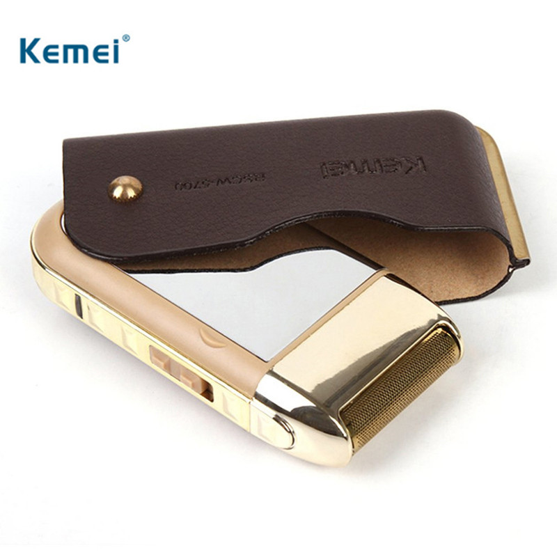 Kemei 2 In 1 Rechargeable Shaving Men 110-220V Electric Razor Vintage Leather Professional Hair Removal Shaver