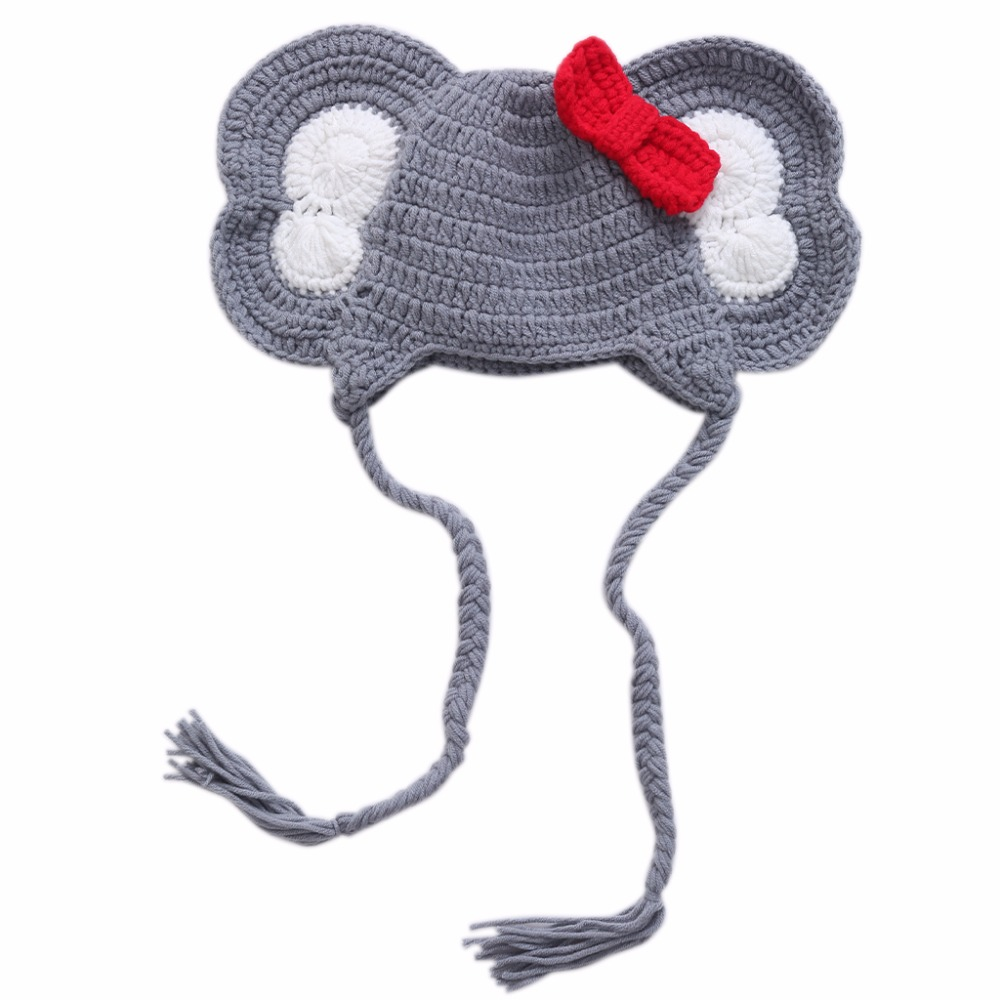 2017 New Baby Animal Elephant Bowknot Photo Prop Crochet Knit Wool Hat Cap Newborn 0-6M