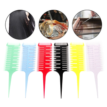 6Colors Professional Easy To Use Weave Weaving Comb Hair Dye Styling Tool Salon Hair Dyeing Comb 3-Way Sectioning Highlight Comb