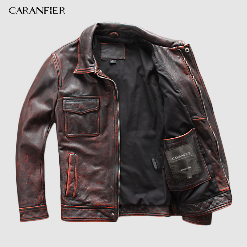 CARANFIER Motorcycle Jacket Genuine-Leather Mens Luminous-Letters 100%Cowhide Safety-Tips