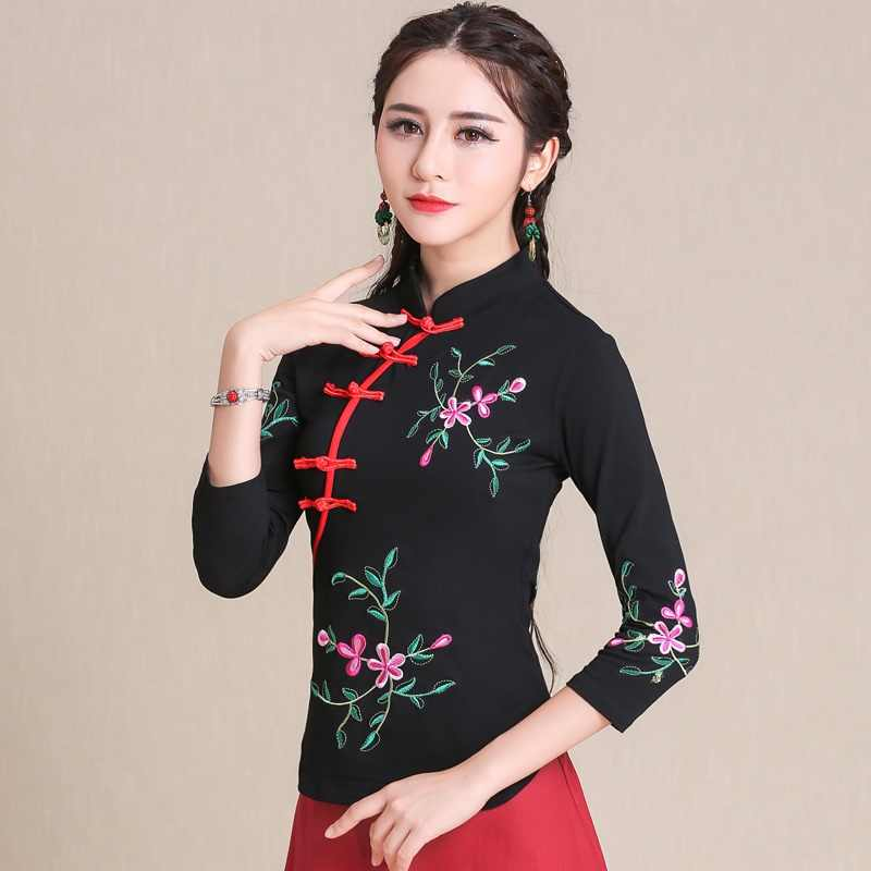 Dài áo sơ mi nữ thêu áo áo áo kimono cardigan phương đông Trung Quốc phong cách áo sơ mi mùa hè tops đối với phụ nữ 2019 AA4656