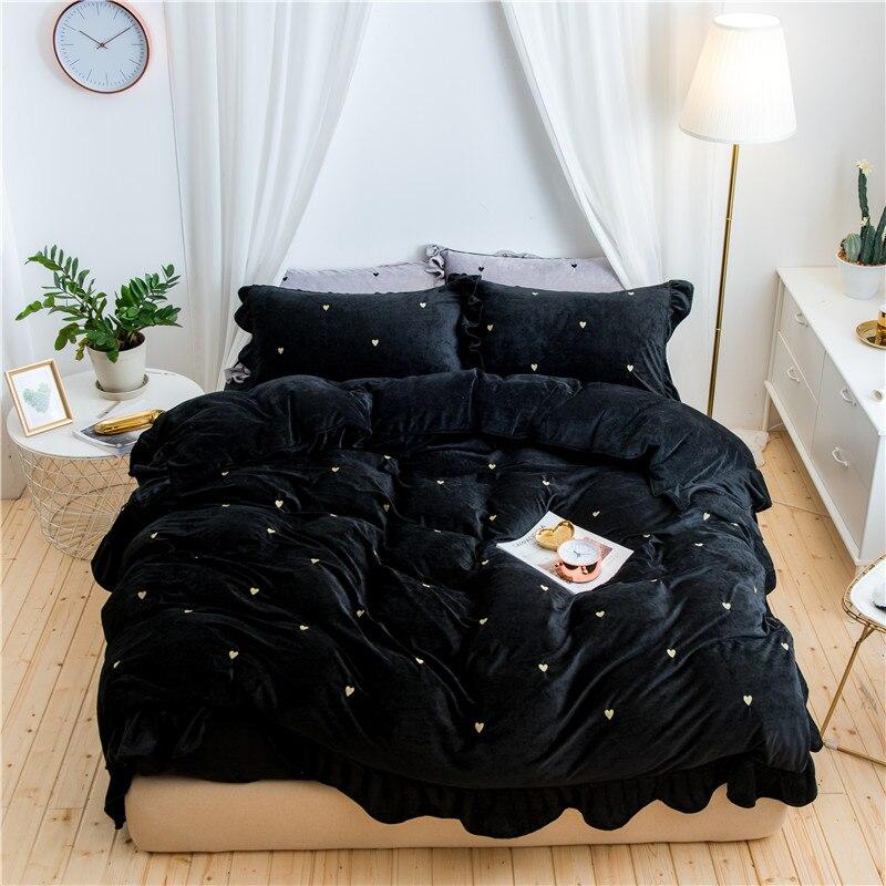2017 Зима домашний текстиль Черный 4 шт плотное постельное белье наборы постельные принадлежности Сердце комплект постельное белье пододеял