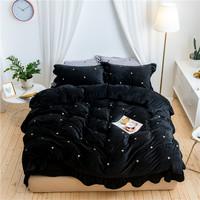 2017 Winter Home Textile black 4pcs Thick Bedding Sets heart Bedding set Bed Linen Duvet Cover Bed Sheet Pillowcase/bed Set