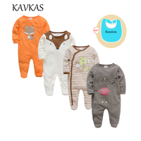 Kavkas 4 pcs/lot Baby Clothes Long Sleeve O Neck Cottn Baby Rompers Christmas Wear roupa de bebes Newborn Girls Boys Clothing