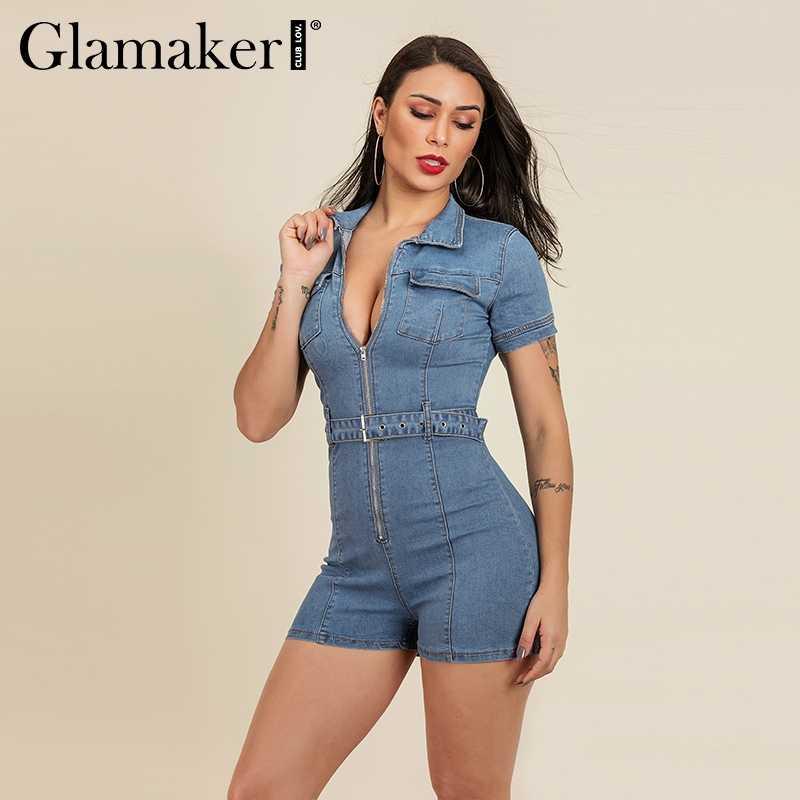 Glamaker сексуальный облегающий короткий синий джинсовый комбинезон джинсовый женский летний костюм на поясе с пряжкой комбинезон женский элегантный комбинезоны для вечеринок, клубов