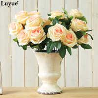 Flores de 9 cabezas de alta calidad rosas de boda Artificial decoración flores ramo champán blanco púrpura rojo color