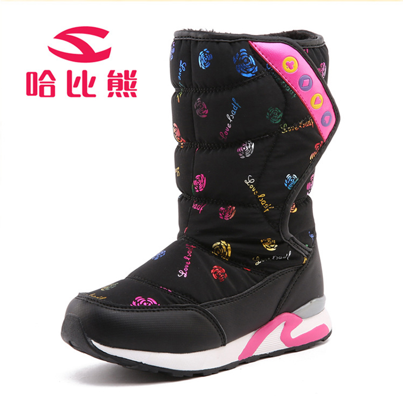 Winter Warm Boots Children Boots 30 Degree Flower Waterproof Kids Shoes Girls Boys Snow Boots Perfect
