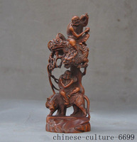 wedding decoration old China Boxwood wood master carving Dragon Tiger Rohan lohan Arhat God Statue