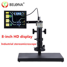 Best price USB Zoom Stereo Microscope Industrial Video Digital Electron Microscope +2MP Industrial Camera + 8-inch LCD screen+60LED