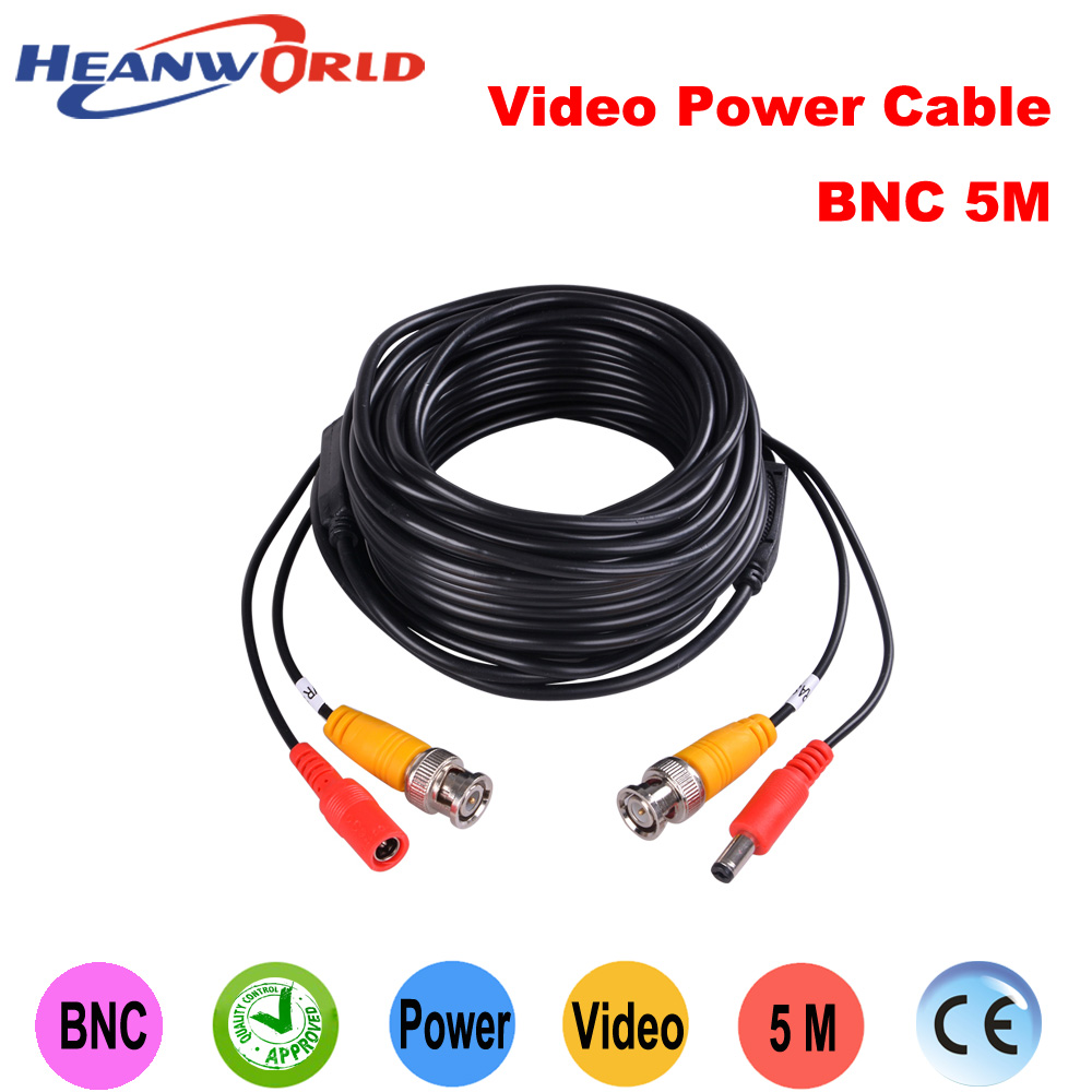 Heanworld BNC cable 5 meters 2 in 1 BNC Video Power Cable CCTV Plug and Play Cable for CCTV camera AHD camera 8pcs 20meters cctv cable bnc video dc power plug cable for cctv camera and dvrs security camera cable dhl express freeshipping