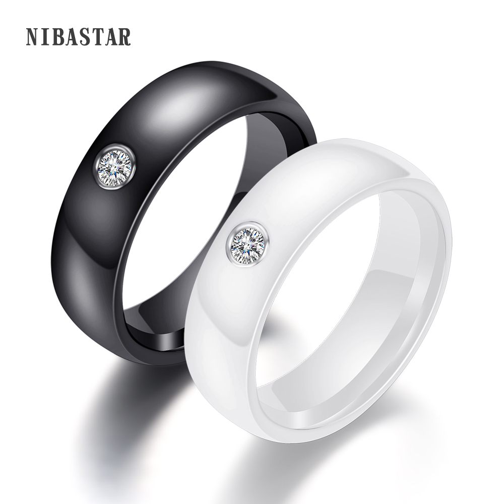 New Arrival Black White Colorful Ring Ceramic Ring For Women With Big Crystal Wedding Band Ring Width 6mm Size 6-10 Gift For Men(China)