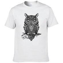 Летняя мода уличная Мужская хлопчатобумажная футболка Сова аниме с животным принтом Футболка Homme мужские Брендовые повседневные топы крутые футболки#192