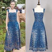 Paris Fashion full cotton runway denim Tanks Camis dress strap summer print embroidered denim long midi floral zipper lady dress