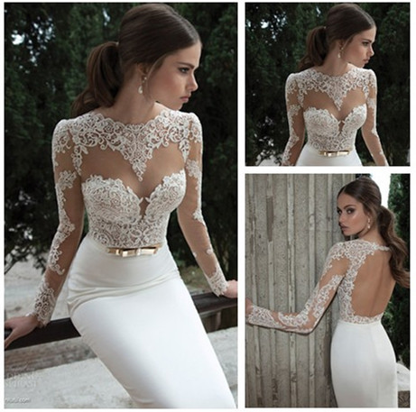 2017 New Arrive Y Model Jewel Long Sleeve Backless See Through Lace Corset Wedding Dresses