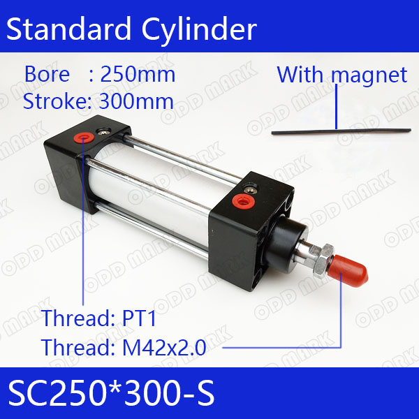 SC250*300 S 250mm Bore 300mm Stroke SC250X300 S SC Series Single Rod Standard Pneumatic Air Cylinder SC250 300 S