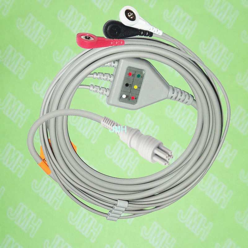 Compatible with 6pin Colin BP88S ECG Machine the one-piece 3 lead cable and snap leadwire,IEC or AHA.Compatible with 6pin Colin BP88S ECG Machine the one-piece 3 lead cable and snap leadwire,IEC or AHA.