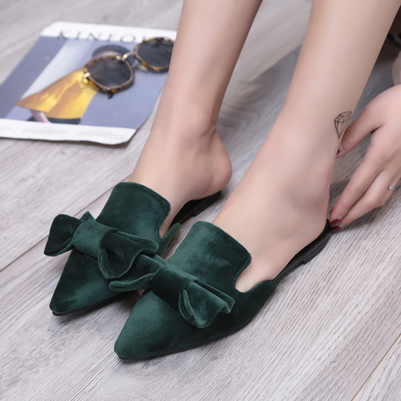 big velvet bow sandals women pointed toe slippers 2017 brand designer bowtie mules ladies summer shoes sandalias mujer y131 sweet women high quality bowtie pointed toe flock flat shoes women casual summer ladies slip on casual zapatos mujer bt123