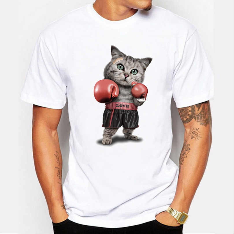 Men's T-Shirt Trend Animal Violent cat Print Funny t shirt men Summer casual brand short sleeved cotton man Tops Tee shirt male