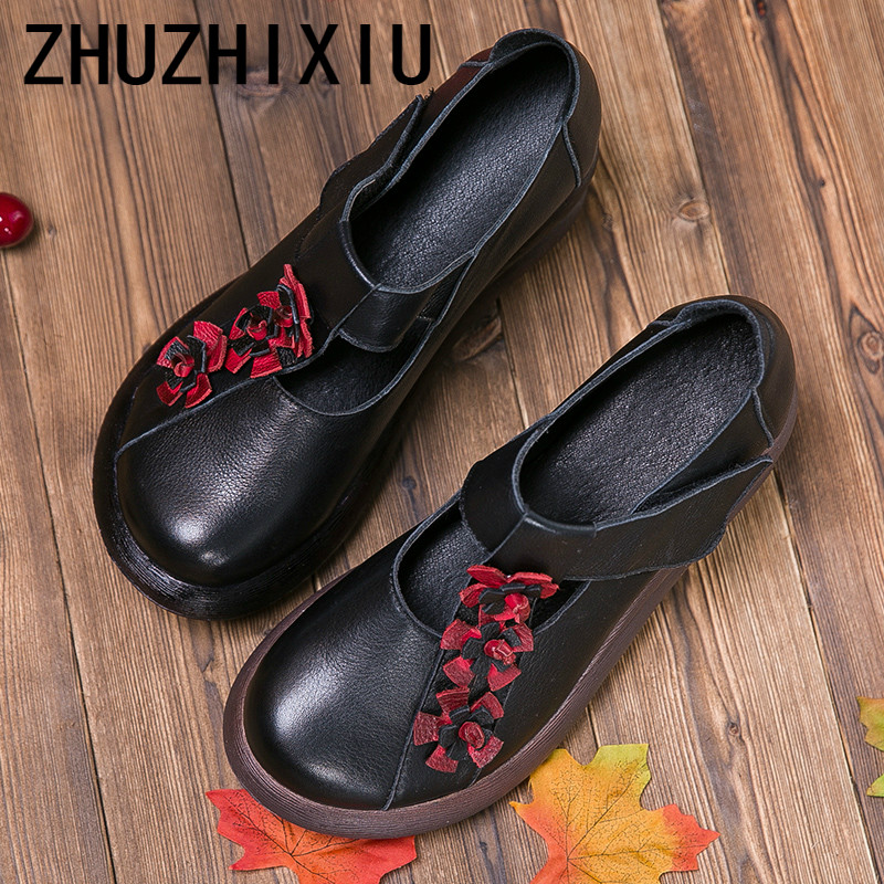 ZHUZHIXIU-Hot,2018 spring and autumn new ladies' genuine leather shoes, national style high slope with thick bottom flower shoes ladies shoes 2018 spring british style multicolor leather shoes square head slope thick soles shoes fashion fit flat shoes