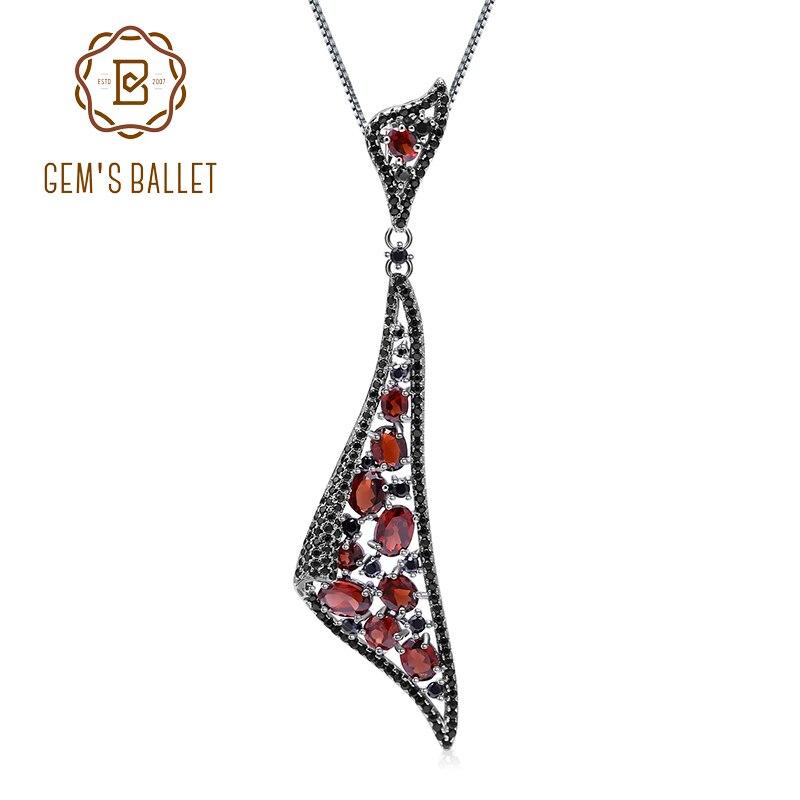 GEM S BALLET 6 32Ct Natural Garnet Gemstone 925 Sterling Silver Vintage Gothic Irregular Pendant Necklace
