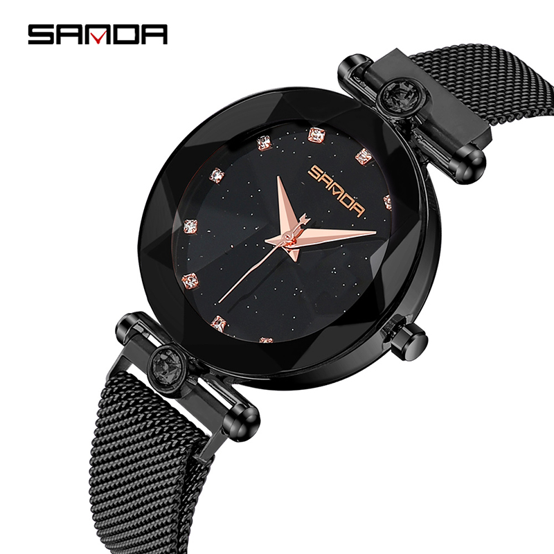 Starry Sky Women's Luxury Watch Diamond Metal Mesh Band Stainless Steel Analog Quartz Wristwatch Hot Sale 2018 Female Watches 2