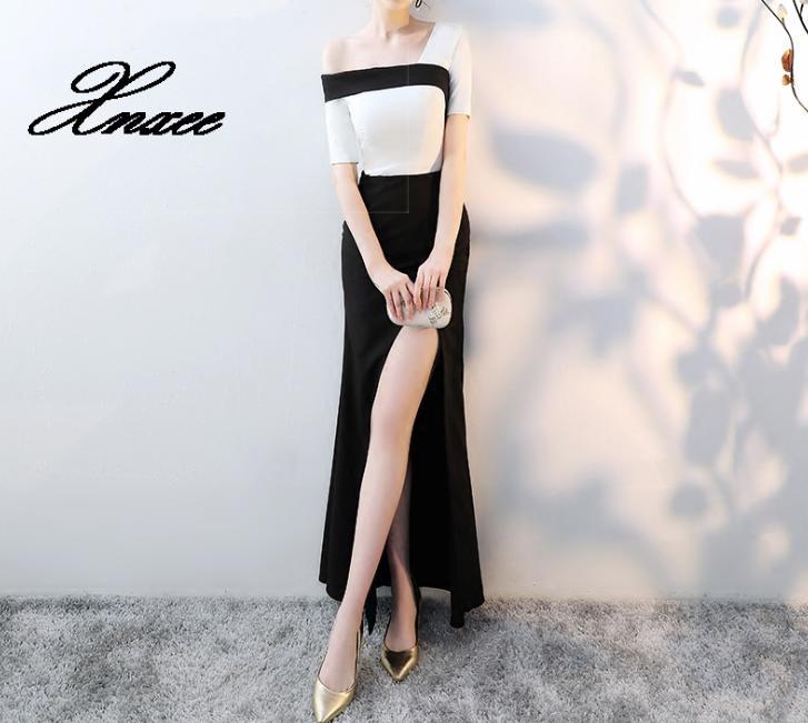 2019 une épaule de mode de haute qualité robes à glissière robe formelle