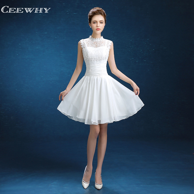 CEEWHY White Chiffon   Dress   Lace Robe de   Cocktail     Dresses   2018 Short Homecoming Wedding Party   Dress   Special Occasion Formal Gown