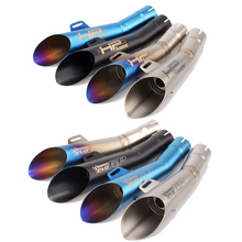 12 Colors Universal Escape Moto Motorcycle Motorcross Scooter Akrapovic Exhaust Pipe Muffler FZ6 Z750 Z800 R1 R3 R6 MT03 MT07