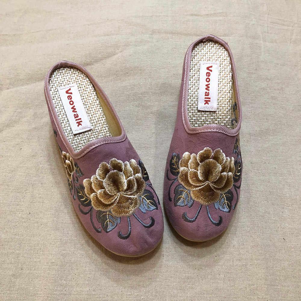 Veowalk/женские парусиновые шлепанцы с вышивкой в стиле старого Пекина; женские туфли на высокой танкетке; удобная льняная хлопковая обувь на платформе