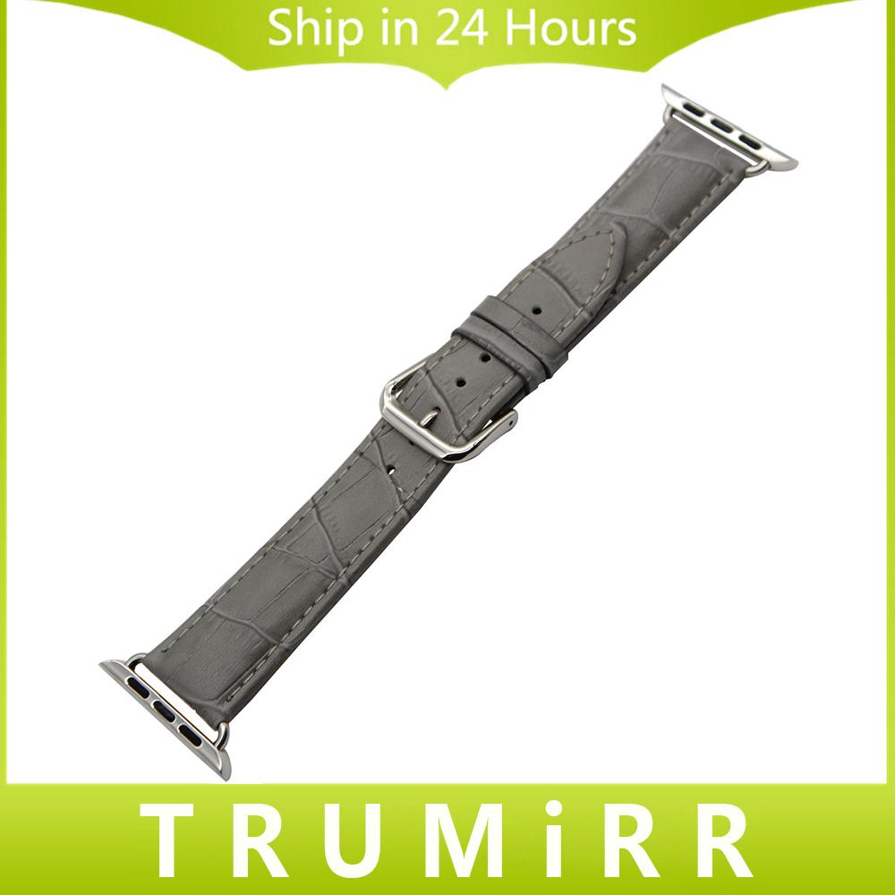 Prix pour Véritable Bracelet En Cuir pour iWatch Apple Watch 38mm 42mm Montre bande Croco Bracelet Bracelet Noir Brun Gris Rouge Blanc + adaptateurs