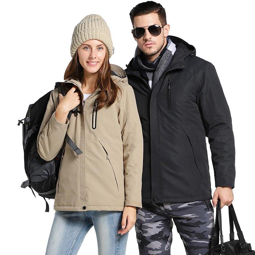 Men Women Winter Thick USB Heating Cotton Jacket Outdoor Waterproof Windbreaker Hiking Camping Trekking Climbing Coats