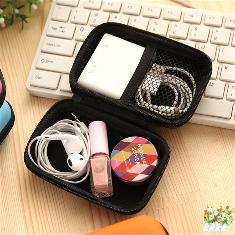 Pink Mini Earphone Earbuds Carrying Hard Bag Box Case For Keys Coin Hold Case Storage Case For Headphones Travel Earphone Acc