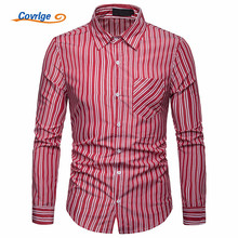 Covrlge Fashion New 2019 British Style Men Shirts Male Striped Formal Dress Shirt Long Sleeve Mens Brand Casual MCL188