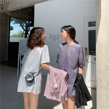 Milinsus 2019 Summer New Loose Simple Bling Holographic Medium-long Silver Shining T-shirt Women Camisas Mujer  Korean Fashion