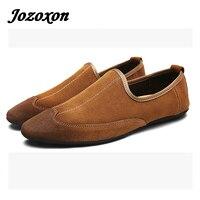 Jozoxon 2017 Nouveau Confortable Casual Chaussures Mocassins Hommes Chaussures Qualité Split En Cuir Chaussures Hommes Appartements Vente Chaude Chaussures À La Main