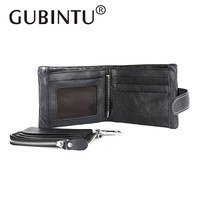 GUBINTU 100 Real Genuine Leather Wallet Men Clutch Famous Brand Card Holder With Removable Zipper Coin