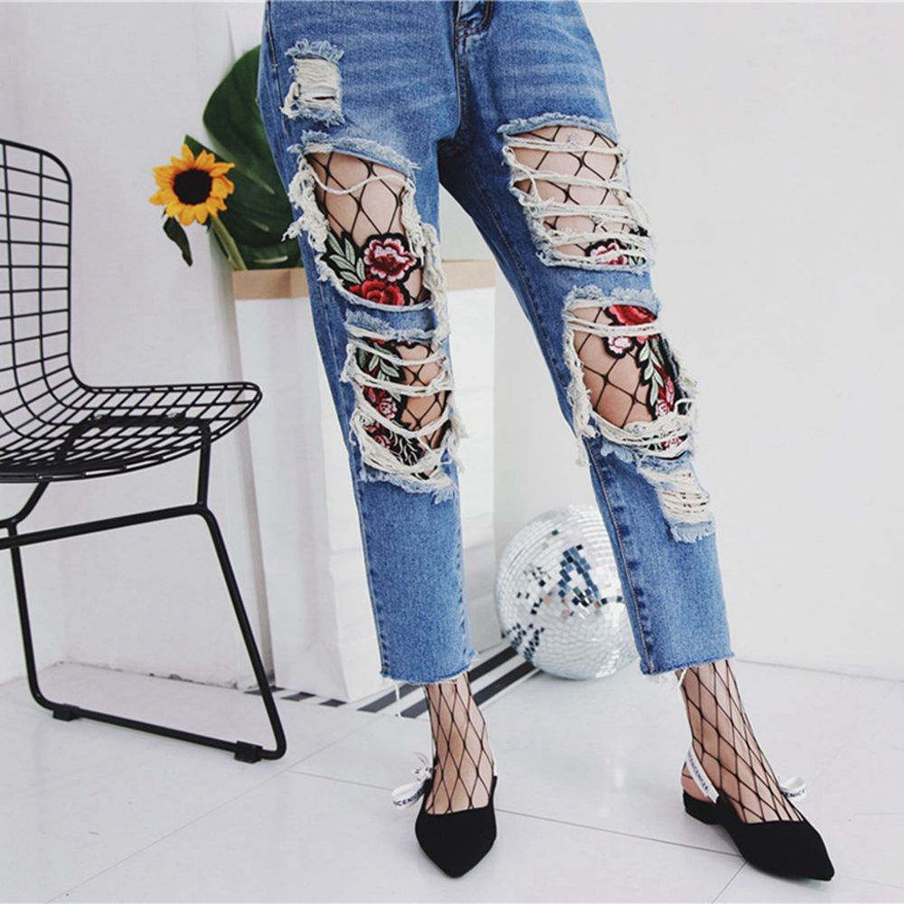 1PC Spring Summer Fashion Sexy Flower Embroidery Patch Hollow Out Net Fishnet Pantyhose Mesh Net Tights
