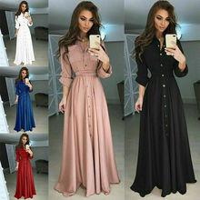 Women Long Sleeve Button Dowm Long Dress Evening Party Casual Slim Elegant Shirt Dress Plus Size button up plaid plus size shirt dress