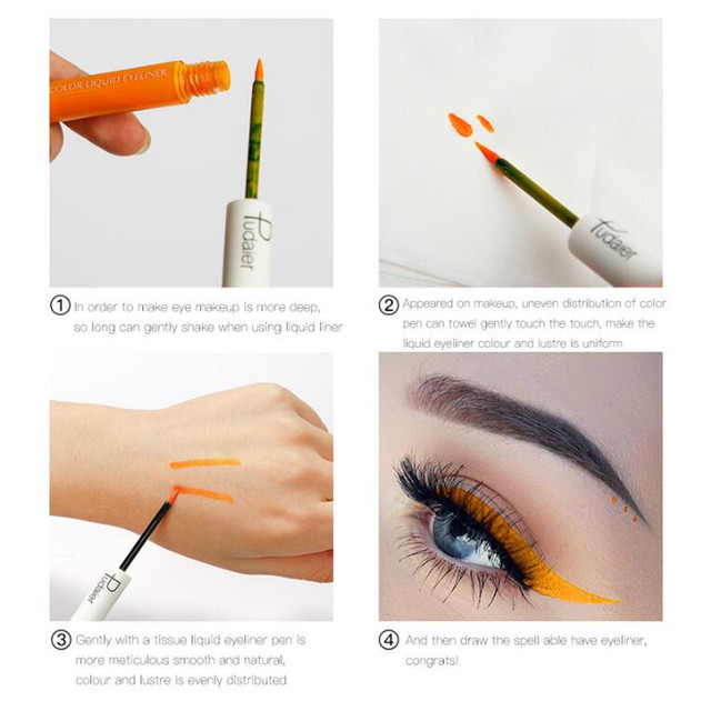Pudaier Matte Liquid Eyeliner Waterproof Long-lasting Pigment Green Purple Red Orange Color Sexy Eye Liner Party Beauty Cosmetic 1