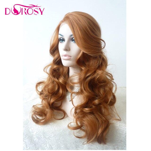 Dorosy Hair de alta temperatura de fibra Perrque U parte 613 largo de onda profunda rubia sintética peluca con malla frontal para la mujer traje