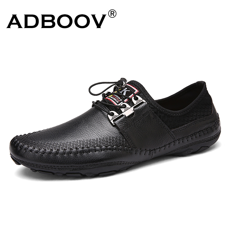 ADBOOV Solf Leather Shoes Men Handmade Lace Up Loafers Fashion Casual Flats Shoes Mocassim Masculino Driving Shoes high quality genuine leather men shoes lace up casual shoes handmade driving shoes flats loafers for men oxfords shoes
