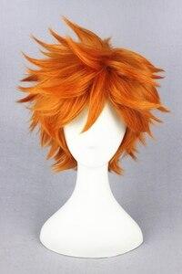 Image 3 - Yüksek kaliteli Anime Haikyuu!! Hinata Syouyou Cosplay peruk kısa turuncu kıvırcık isıya dayanıklı sentetik saç peruk + peruk kap