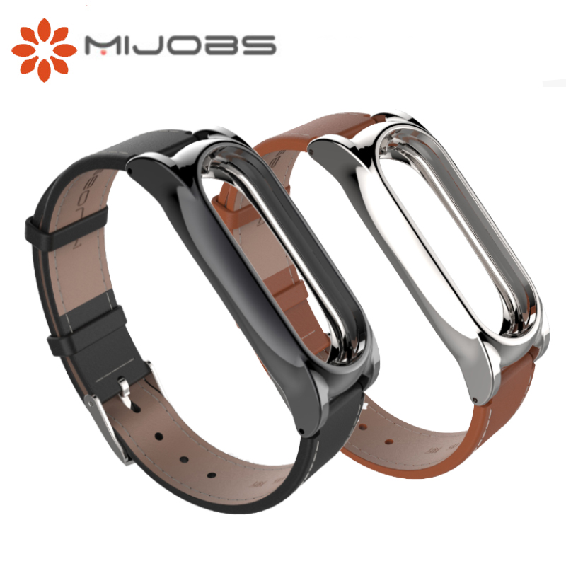 Original Mijobs For Xiaomi Mi Band 2 Leather Wrist Band Strap Smart Bracelet Miband 2 Screwless Metal For Mi Band 2 Frame