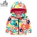 Розничная 2-8 лет пальто полный рукавом печати цветы pigeonWindproof капюшоном пальто дети дети весна осень осень-зима