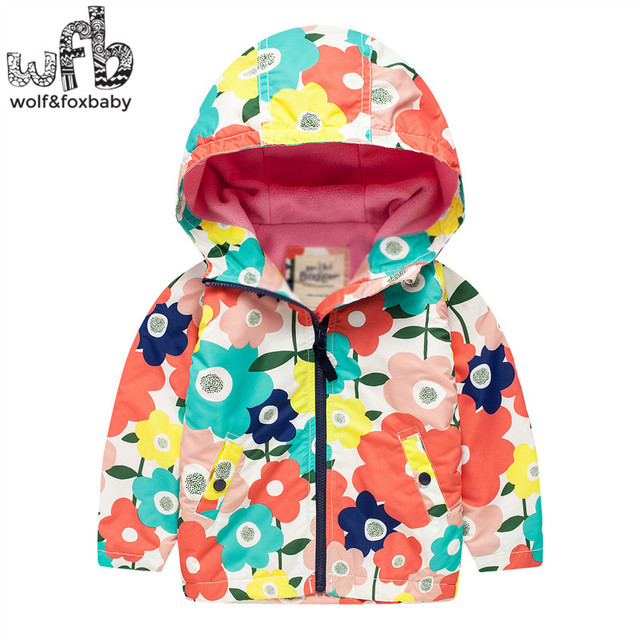 Retail 2-8 years coat full-sleeves printing flowers pigeonWindproof hooded coat kids children spring autumn fall winter