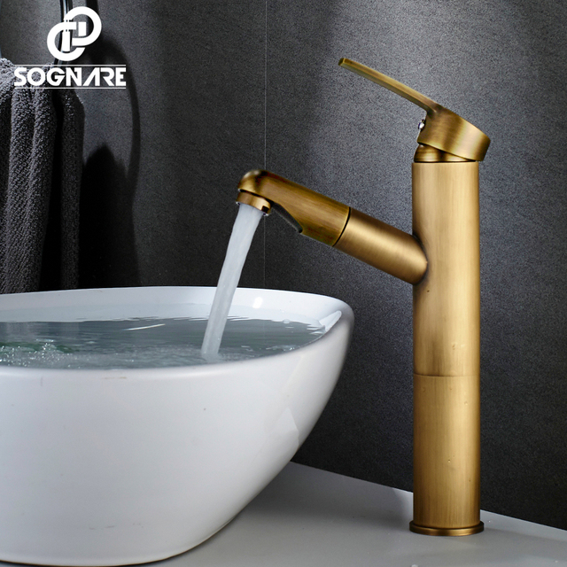 Sognare Antique Br Single Handle Pull Out Bathroom Sink Faucet Mixer Tap Cold And Hot Basin