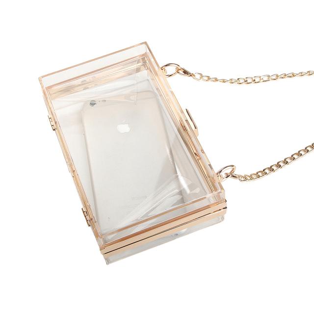 2017 Acrylic Transparent Clutch Chain Box Bag Women Shoulder Messenger Bags Wedding Party Day Clutch Purse Wallet Handbags Li706